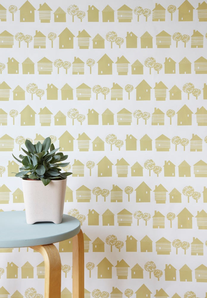 Image of Smalltown wallpaper in sandy yellow ON SALE