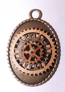 Image of Steampunk Wood Cog and metal Cog  Pendant Necklace