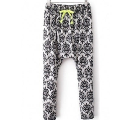 Image of Black & White Floral Print Mid Loose Pants