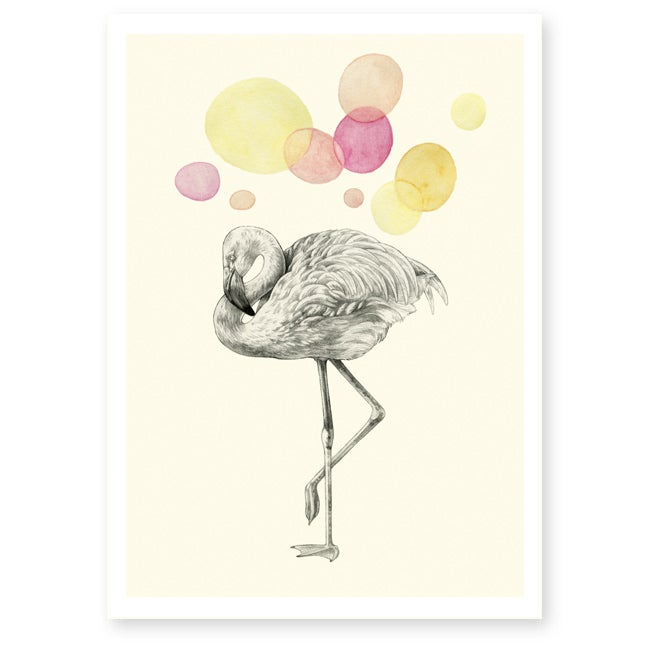Image of Affiche A4 Flamant rose