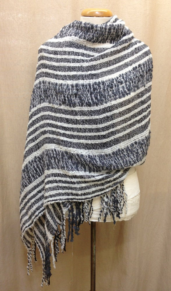 Image of Milagro Scarf - Charcoal & Cream Stripes