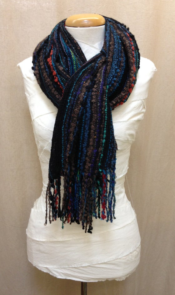 Image of Aurora Scarf - Black/Multi-Colour Stripes
