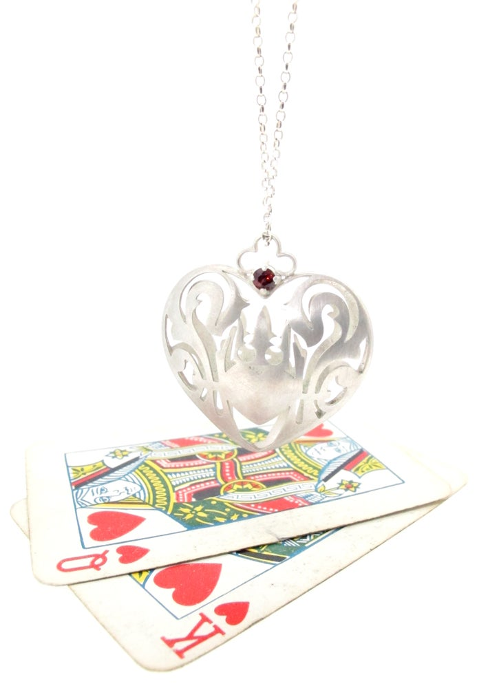 Image of Wonderland royal crest heart necklace