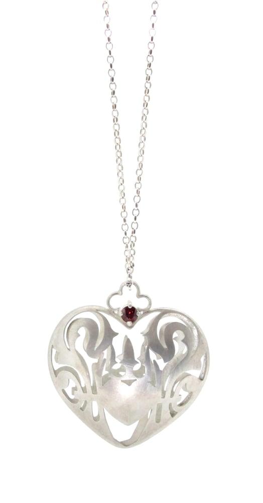 Image of Wonderland royal crest heart necklace