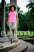 """Image of """"Eye Candy"""" Women's Hot Pink V-Neck Tee"""