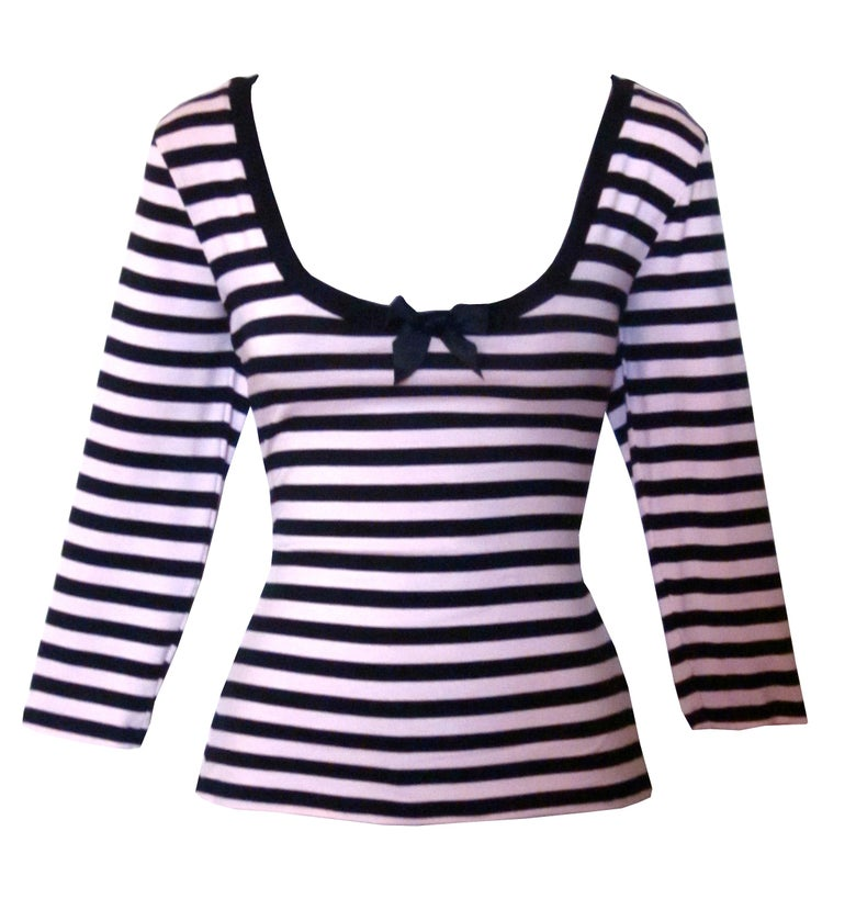 Image of Pink and Black Stripe top/3/4  sleeve