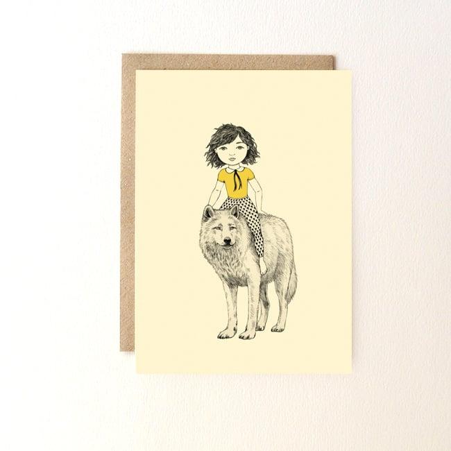 Image of Carte postale Fille et loup + enveloppe