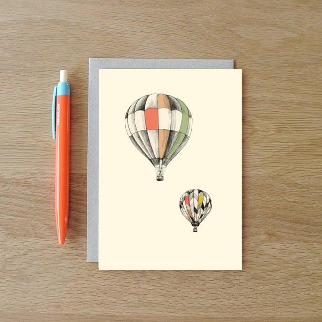 Image of Carte postale Montgolfières + enveloppe