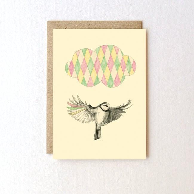 Image of Carte postale Oiseau + enveloppe