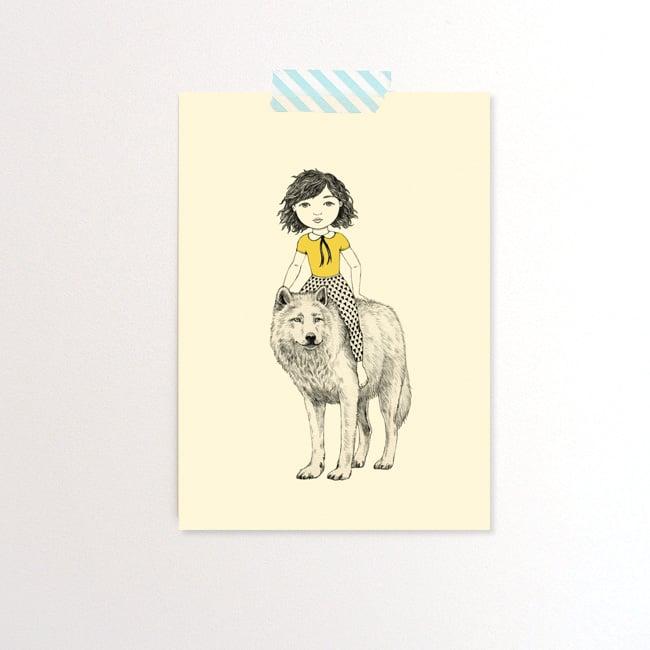 Image of Carte postale simple Fille et loup