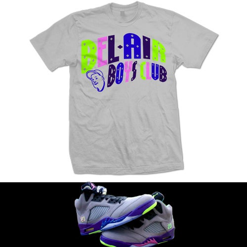 "Image of RETRO 5 BEL AIR FRESH PRINCE "" BEL-AIR BOYS CLUB "" T SHIRT - GREY"