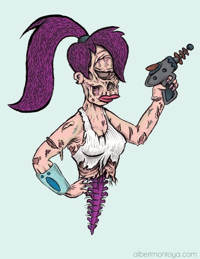 """Image of Print """"Leela Zombie"""""""