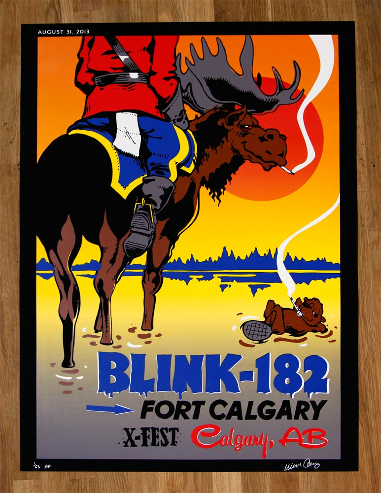 Image of Blink 182 Calgary X-FEST Poster Mike Cooney Artist Edition Signed & Numbered