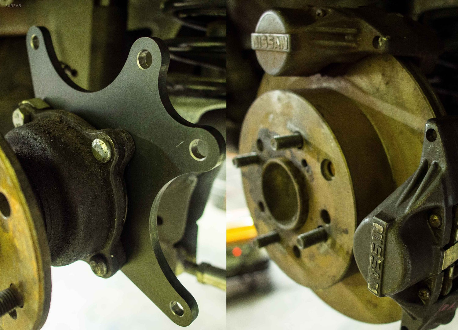 Image of twin caliper brackets for hilux diff