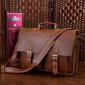 "Image of Handmade Superior Leather Briefcase Messenger Bag with 14"" 15"" Laptop / 13"" 15"" MacBook Sleeve (n67)"