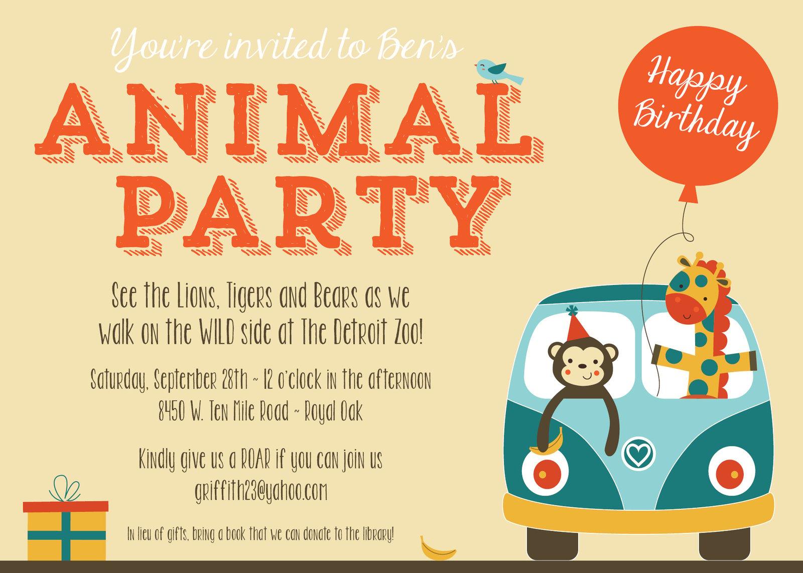 Small Moments Zoo Animal Party Invitation