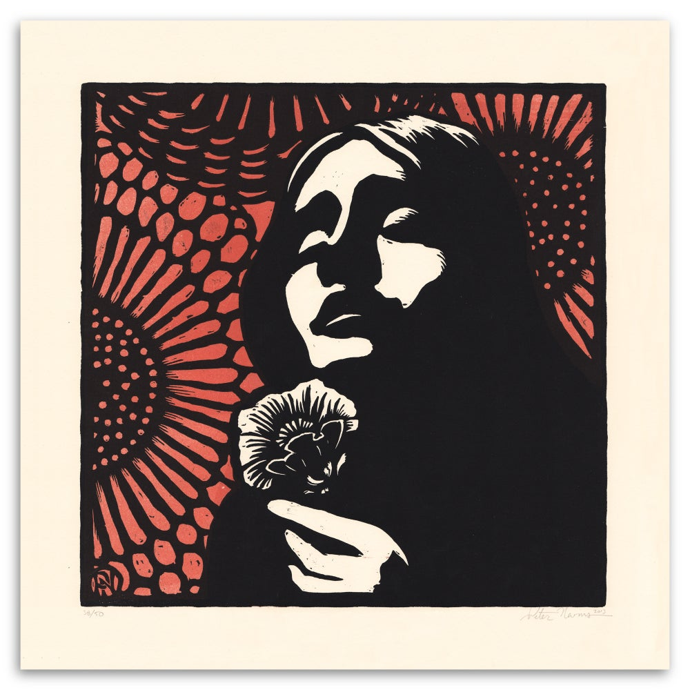 Image of Eurydice -from Hadestown.  Second limited edition woodcut print.
