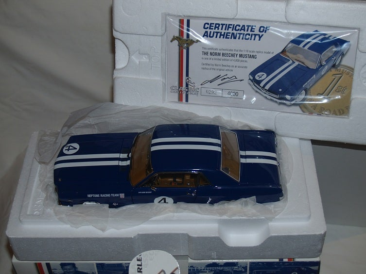 Image of NORM BEECHEY. NEW 1:18 FORD MUSTANG. 1965 ATCC. SANDOWN. SIGNED Certificate.