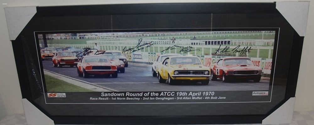 Image of SIGNED NORM BEECHEY, ALLAN MOFFAT, BOB JANE. BRYAN THOMSON. 1970 SANDOWN ATCC