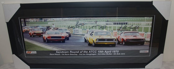 Image of SIGNED NORM BEECHEY, ALLAN MOFFAT, BOB JANE. BRYAN THOMSON. 1970 SANDOWN ATCC