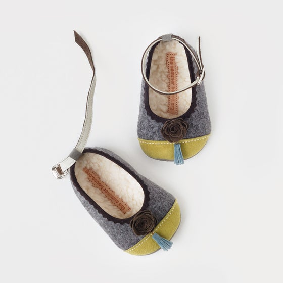 Image of wool & leather baby ballerinas with flowers and tassels