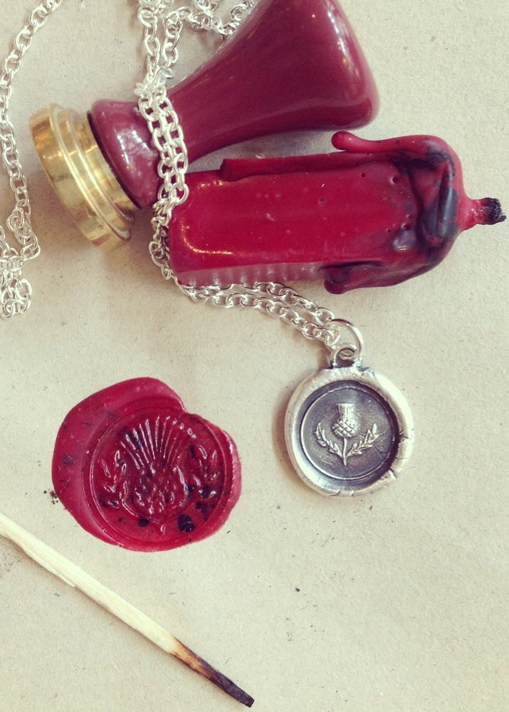 Image of Sterling Silver Wax Seal Thistle Pendant