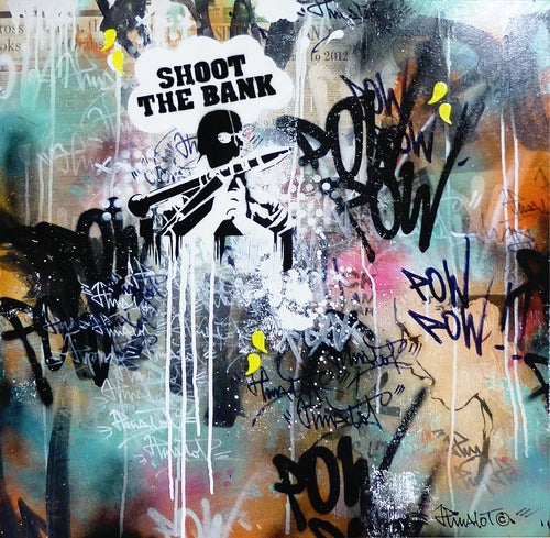 Image of SHOOT THE BANK ON CANVAS 80x80cm