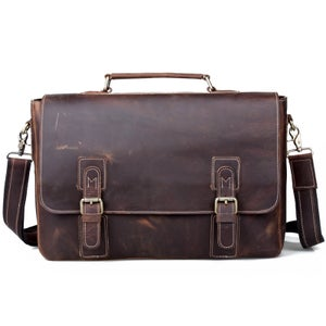 """Image of Vintage Handmade Crazy Horse Leather Briefcase Messenger 13"""" 14"""" Laptop / 13"""" 15"""" MacBook Bag (n14)"""