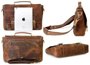 """Image of Vintage Handmade Crazy Horse Leather Briefcase Messenger 13"""" 14"""" Laptop 13"""" 15"""" MacBook Bag (n14-2)"""