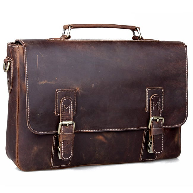 "Image of Vintage Handmade Crazy Horse Leather Briefcase Messenger 13"" 14"" Laptop / 13"" 15"" MacBook Bag (n14)"