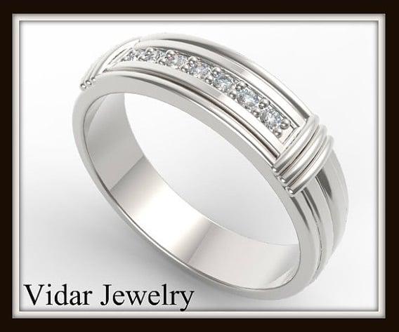 Vidar Jewelry Elegant And Beautiful 14k White Gold Diamond Men S Wedding Ring