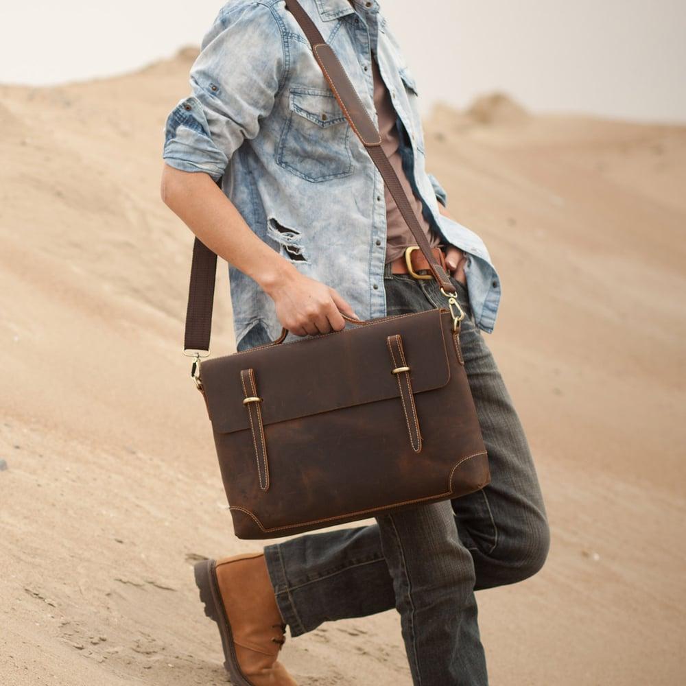 """Image of Vintage Handmade Crazy Horse Leather Briefcase Messenger 13"""" 14"""" Laptop 13"""" 15"""" MacBook Bag (n04)"""