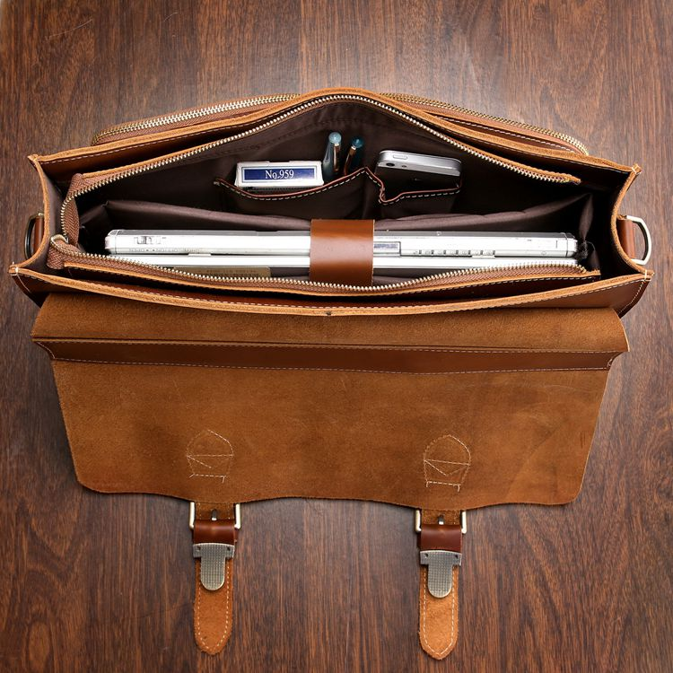 261a4c74b5c8 ... Image of Handmade Superior Leather Briefcase Messenger Bag with 14