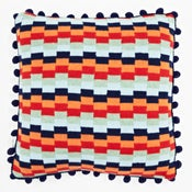 Image of Blue 'Pixels' square cushion