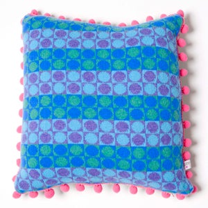 Image of Blue 'Card' square cushion
