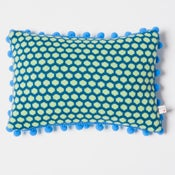 Image of Blue 'Popper' oblong cushion