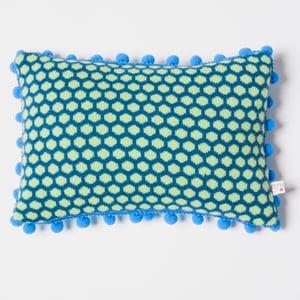 Image of Blue 'Popper' oblong cushion