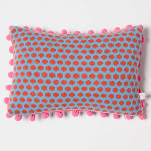 Image of Turquoise 'Popper' oblong cushion