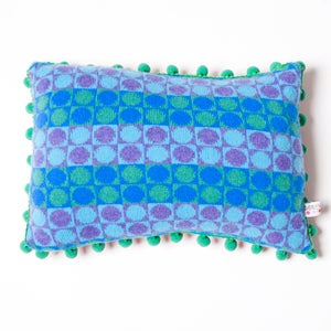 Image of Blue 'Card' oblong cushion