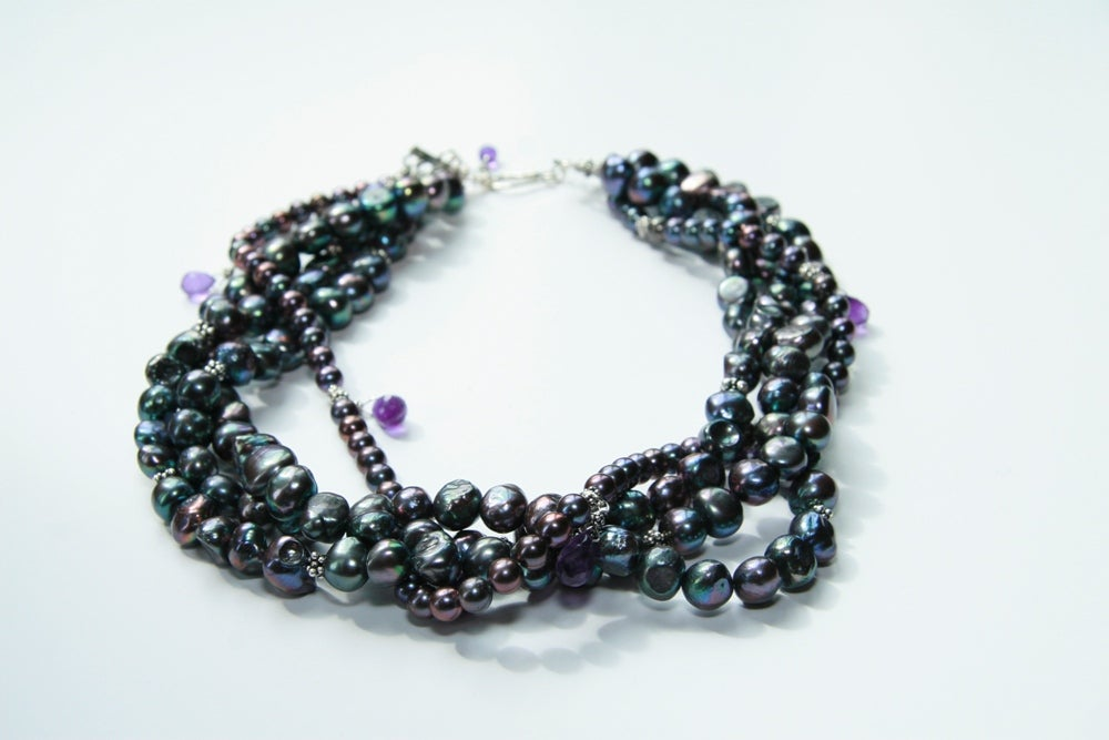 Multi-Strand Peacock Pearl and Amethyst Collar