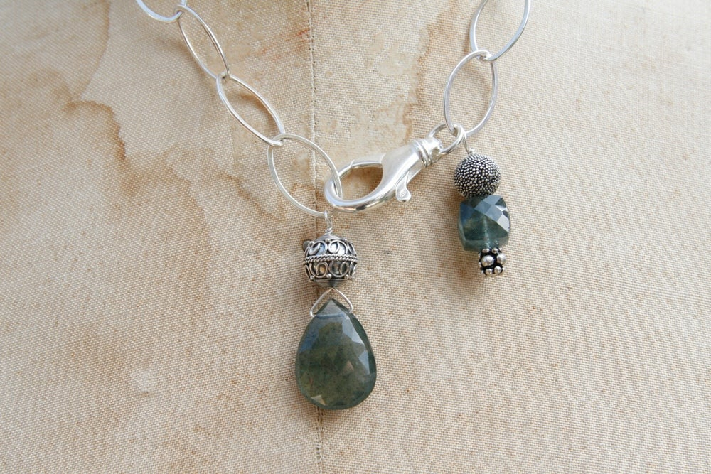 Sterling Silver Chain with Moss Aquamarine