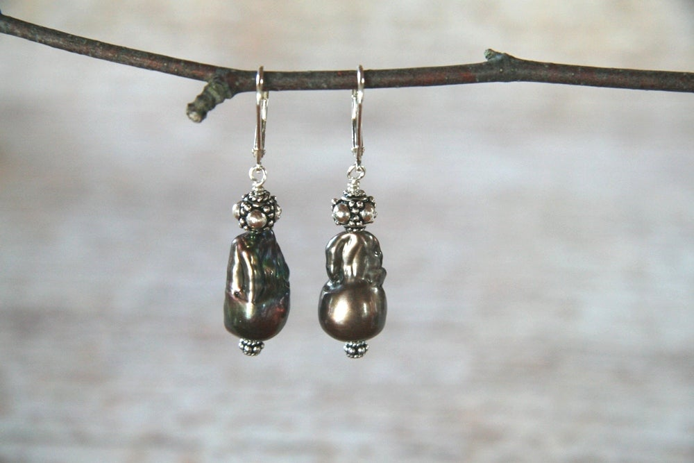 Dark Peacock Baroque Pearl Earrings