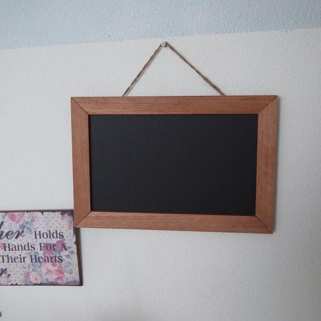 Image of Rectangular Chalkboard with Solid Brown Border (S)
