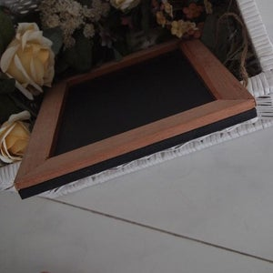 Rectangular Chalkboard with Solid Brown Border (S)