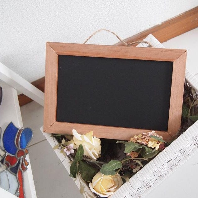 Image of Rectangular Chalkboard with Solid Brown Border (M)