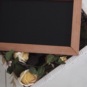 Rectangular Chalkboard with Solid Brown Border (M)