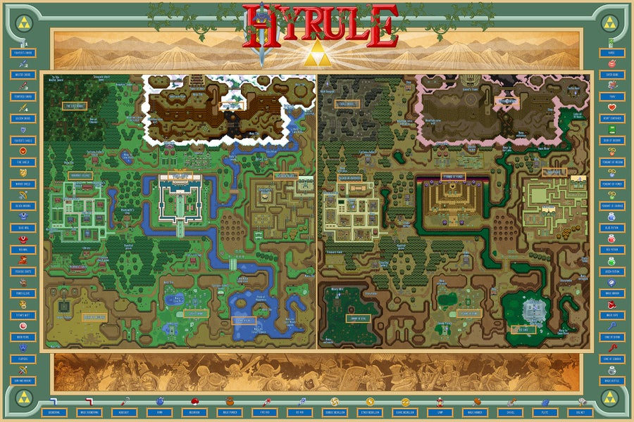 Image of The Light & Dark Realms of Hyrule (labeled)