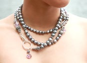 Image of Grey Pearl Rope with Amethysts and Lobster Closure