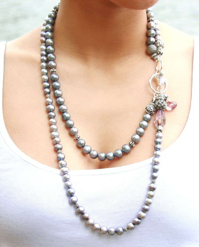 Grey Pearl Rope with Amethysts and Lobster Closure
