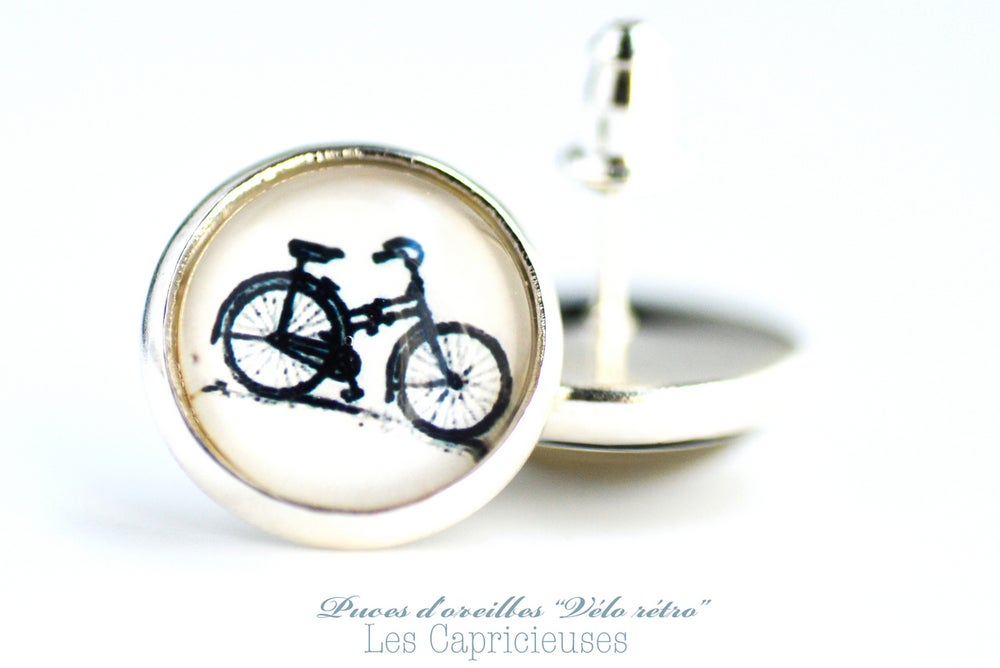 Image of Puces d'oreilles Vélo rétro, bijou bicyclette argenté